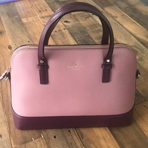 Kate Spade leather cowhide purple satchel!